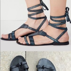 Black Free People Lace Up Sandals